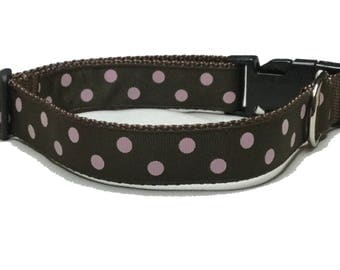 Dog Collar, Dots Pink on Brown