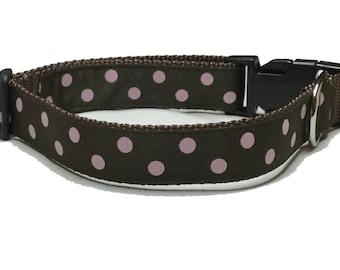 Dog Collar, Dots - Pink on Brown