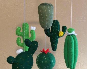 Cactus mobile,Cactus baby mobile,Felt cactus,Crib mobile cactus,Nursery cactus decor,Cactus nursery,Cactus plant mobile,Baby mobile green
