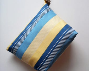 Toiletry bag XL in striped yellow, blue and green