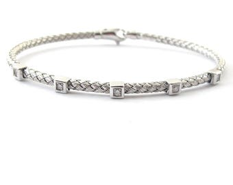 14k White Gold Italian Braided Diamond Bangle Bracelet 7""
