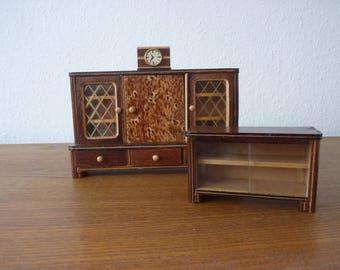 Vintage Wohnzimmerschrank Sideboard Uhr Holz Ca 1960 Germany Living Room Clock