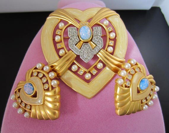 Elizabeth Taylor for Avon signed ART DECO style opal bead & crystal Pin, Earring set ~lovely, collectible vintage costume jewelry