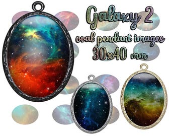 30x40 mm Galaxy 2 printable oval pendant images digital collage sheet for galaxy jewelry, scrapbooking. Printable download cabochons
