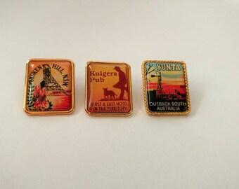 Vintage lot Australian souvenir pins Kulgera Yunta Broken Hill