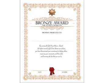 girls camp certificate printable award certificate instant. Black Bedroom Furniture Sets. Home Design Ideas