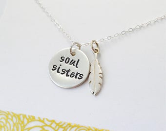 Soul Sisters Necklace, Best Friends Necklace, Friendship Necklace, Friendship Jewelry, Sterling Silver Friendship Jewelry