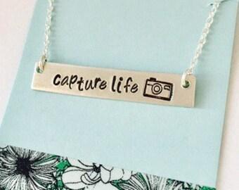 Camera Necklace, Camera Jewelry, Photographer Gift, Capture Life, Photography, Gift for photographer