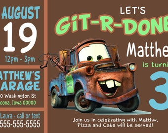 Custom Tow Mater Birthday Party Invitation Print at Home Digital File