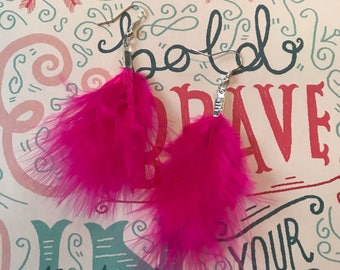 Handmade Bright Pink Feather Earrings