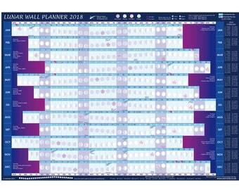 LUNAR WALL PLANNER Moon Calendar 2018