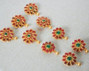 Antique Indian temple gold headpiece matt kemp plait pieces chotis| Indian Jewelry | Indian headgear South Indian Jewelry