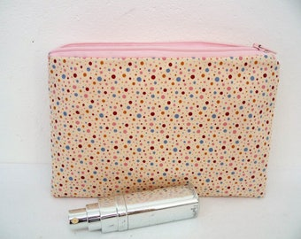 Fabric zippered make-up multicolor dots