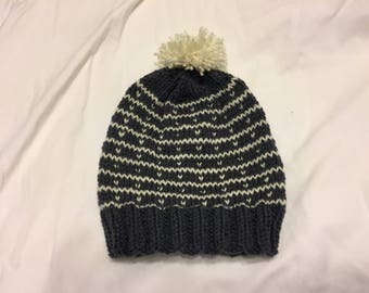 Fair Isle Striped Hat with Pom Pom