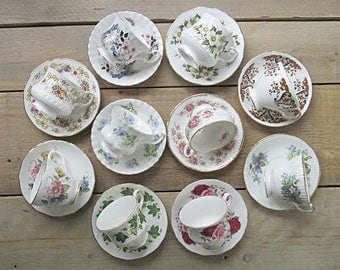 Vintage Mismatched Teacups and Saucers, English Teacups, Set of 10, Mismatched China