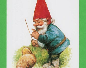 Vintage art print 80s. Illustration of a gnome teaching a little chicken to sing by Rien Poortvliet.