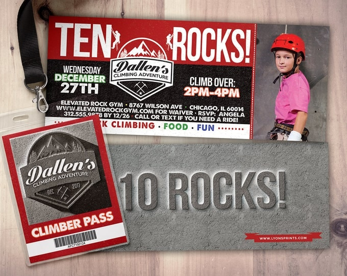 Any Age, Rock Climbing Birthday Invite, 10 rocks, ten rocks, boy birthday, Adventure outdoors, hiking, 9. 10, 11, 12, 13, 14, 8, boy