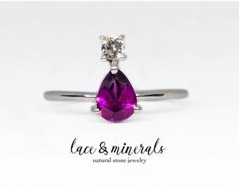 Rhodolite Garnet Ring / engagement ring / pear shaped ring / white topaz ring / pear cut ring / handmade jewelry / teardrop ring