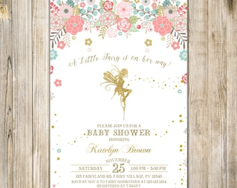 Gold FAIRY BABY SHOWER Invite, Floral A Little Fairy On Her Way Shower Invitation, Girl Magical Enchanted Pixie Whimsical Party Fairy Dust