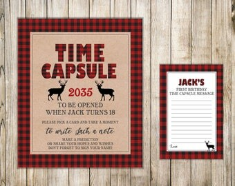 WOODLAND First Birthday TIME CAPSULE, Kraft Time Capsule Sign & Card, Deer 1st Birthday Time Capsule, Buffalo Plaid Shower Wishes, Flannel