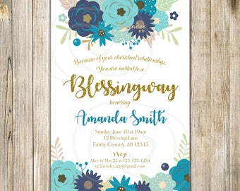 Blue FLORAL BLESSINGWAY Invitation, Mother BLESSING Invite, Blessing Way Invites, Boy Baby Shower, Bless the Mommy, Baby Blessing Boy
