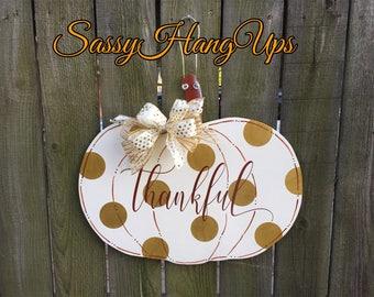 Thanksgiving Door Hanger, Thanksgiving Wreath, Thanksgiving Door Decor, Pumpkin Door Hanger, Fall Door Hanger, Fall Wreath, Pumpkin,