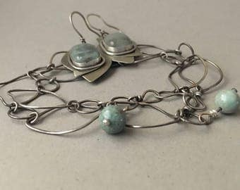 Silver and aqua bracelet and earrings set, handmade chain, hand forged leaf design
