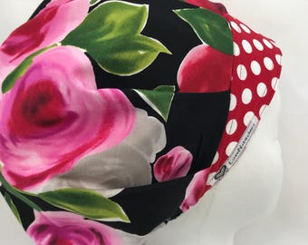Red Pink Roses LoveNstitchies Surgical Cap Bouffant Scrub Hats for Women Caps OR Nurse Tech XRay Physician's Assistant Hat Floral CRNA Black