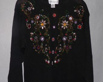 Embroidered Beaded Vintage Black Pullover Sweater Rhinestones Pearls Victoria Harbour Woman's Clothing Medium