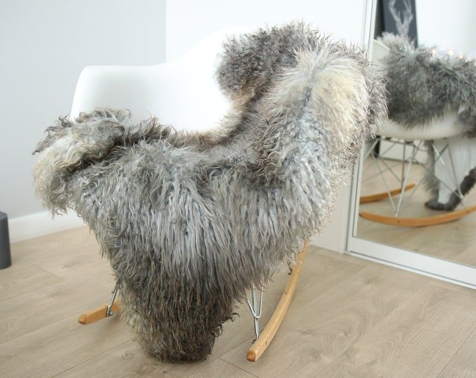 Genuine Rare Gotland Sheepskin Rug - Curly Fur Rug - Natural Sheepskin - Gray Sheepskin #FEBGOT28