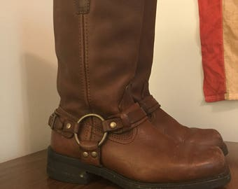 Brown leather harness riding boots size 7m womens