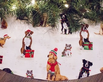 Christmas Tree Skirt-Dog Tree Skirt-Dog Christmas Decor-Dog Decoration-Santa Claus-IRescue Pet-36""