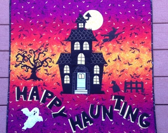 Happy Haunting handmade Halloween quilted wall hanging