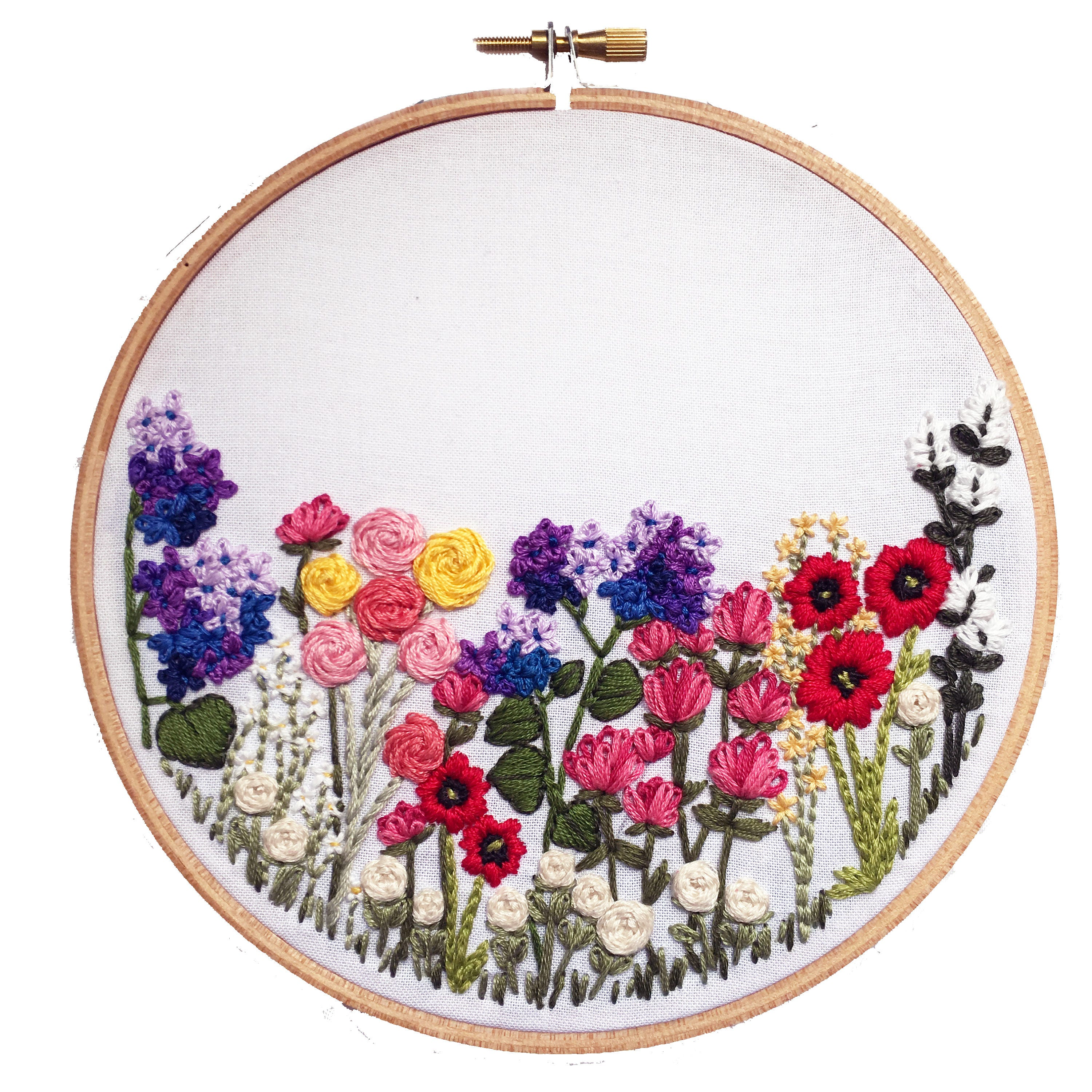 Embroidery Kit // Embroidery Supplies Hand-Embroidery Kit DIY Embroidery Flower Embroidery ...