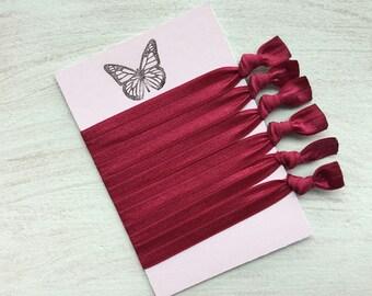 Burgundy elastic hair ties Foe hair ties No crease Elastic ribbon hair ties Gift idea ponytail holder hair accessory