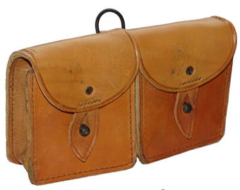 1960s Real Leather Belt Pouch French Army sturdy tan natural leather double duo twin ammo magazine vintage retro