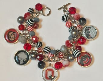 Ohio State Charm Bracelet with various Gray, Scarlet and Black beads