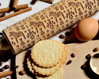 Embossing rolling pin - Swedish Dala Horse, Cookies decorating roller, Laser engraved rolling pin