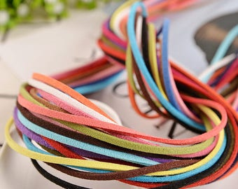 3mm Flat Faux Suede Cord - DIY Leather String Cord Vegan Suede Cord - DIY Cord Supplies - Bracelet cord - necklace cord,Vegan Suede Cord