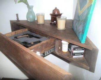 Choose Own Color Rustic Hidden Compartment Floating Corner Gun Shelf Secret  Stash Money Handgun Tv Stand