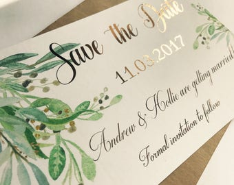 Handmade Rose gold hot foil Save The Date