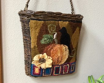 Hooked Rug on a Hanging Basket, Pumpkin and Crow
