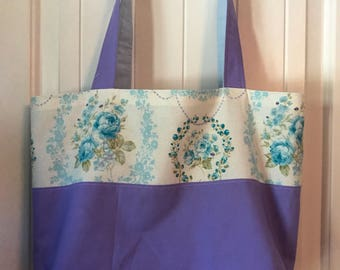 Purple & Blue Floral Tote Bag