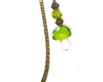 Bookmark bronze mushroom jewelry Green