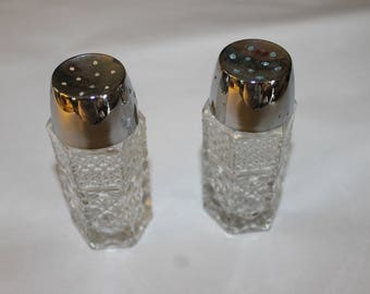 Vintage Crystal Salt and Pepper Shakers, Metal Lids that Come Off for Filling Them, Some Wear on Lids, Perfect For Dinner Parties, Holidays