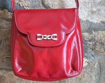 Vintage Red Handbag, Jack Hinton London, Handbag, Shoulder Bag, Red Purse, Mirror in a Paper Bag.