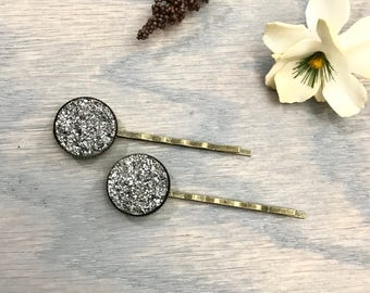 Large Silver Druzy Bobby Pins