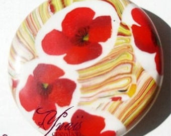 round poppy red and multicolor polymer clay magnet