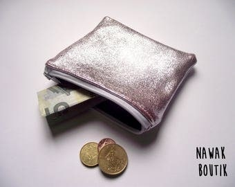 Porte monnaie en cuir - Rose irisé