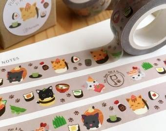 Purrballs Cat Sushi Shop Washi Tape / Masking Tape